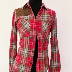 Ralph Lauren Rugby Red Brown Plaid Button Down